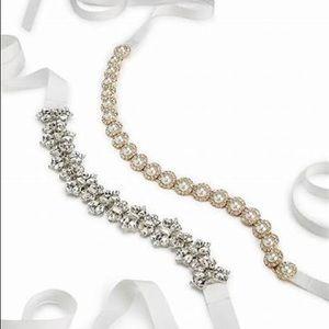 """Kate Spade 3/4"""" bridal rhinestone sash belt"""